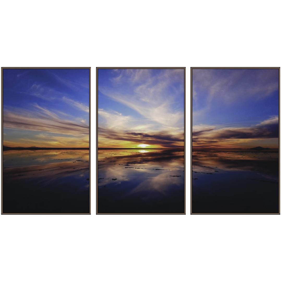 Composição com 3 Quadros Decorativos com Nascer do Sol no Mar