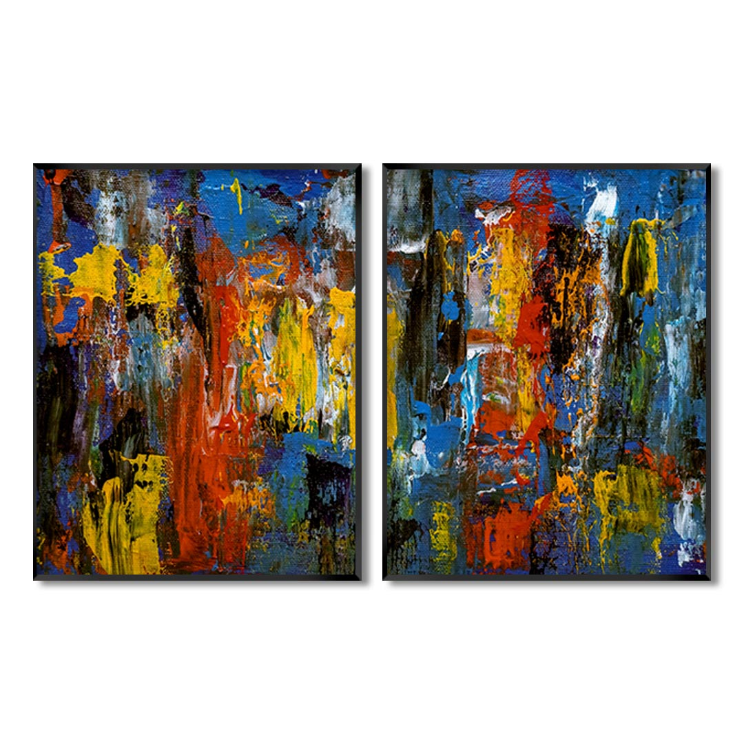 Composição com 2 Quadros Decorativos Abstrato com Pintura Colorida