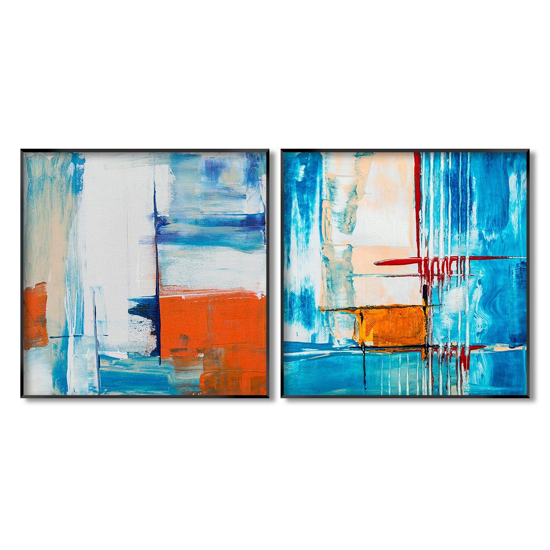 Conjunto com 2 Quadros Decorativos Abstrato em Tons de Azul e Laranja