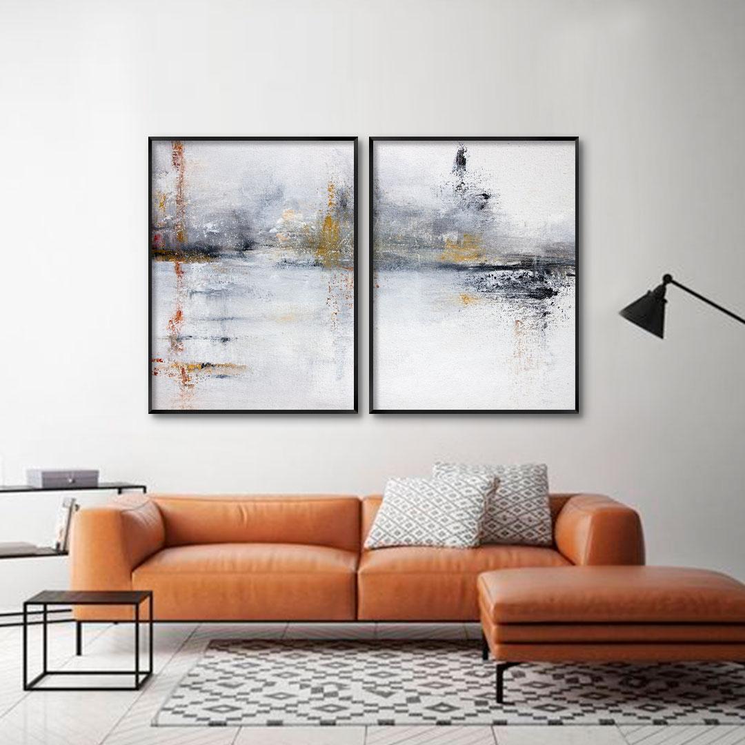 Composição com 2 Quadros Decorativos Abstrato em Tons de Amarelo e Vermelho