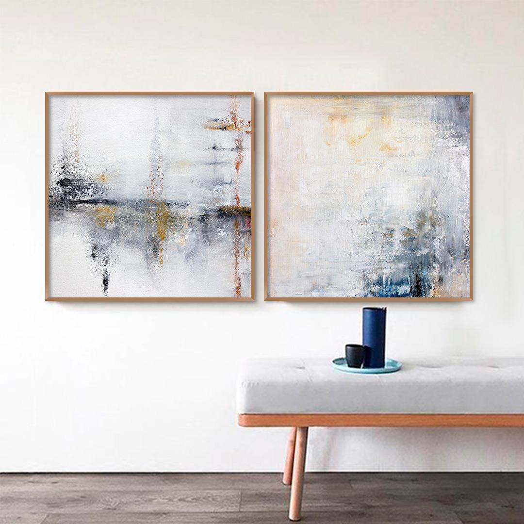 Conjunto com 2 Quadros Decorativos Abstrato em Tons de Amarelo, Vermelho e Azul