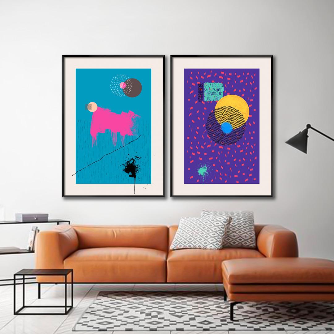 Conjunto com 2 Quadros Decorativos Abstratos Coloridos