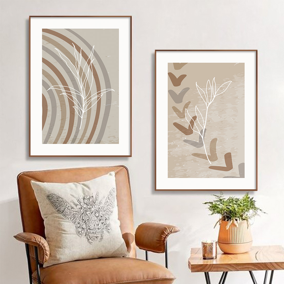 Conjunto com 2 Quadros Decorativos Abstratos Botânicos em Tons Neutros