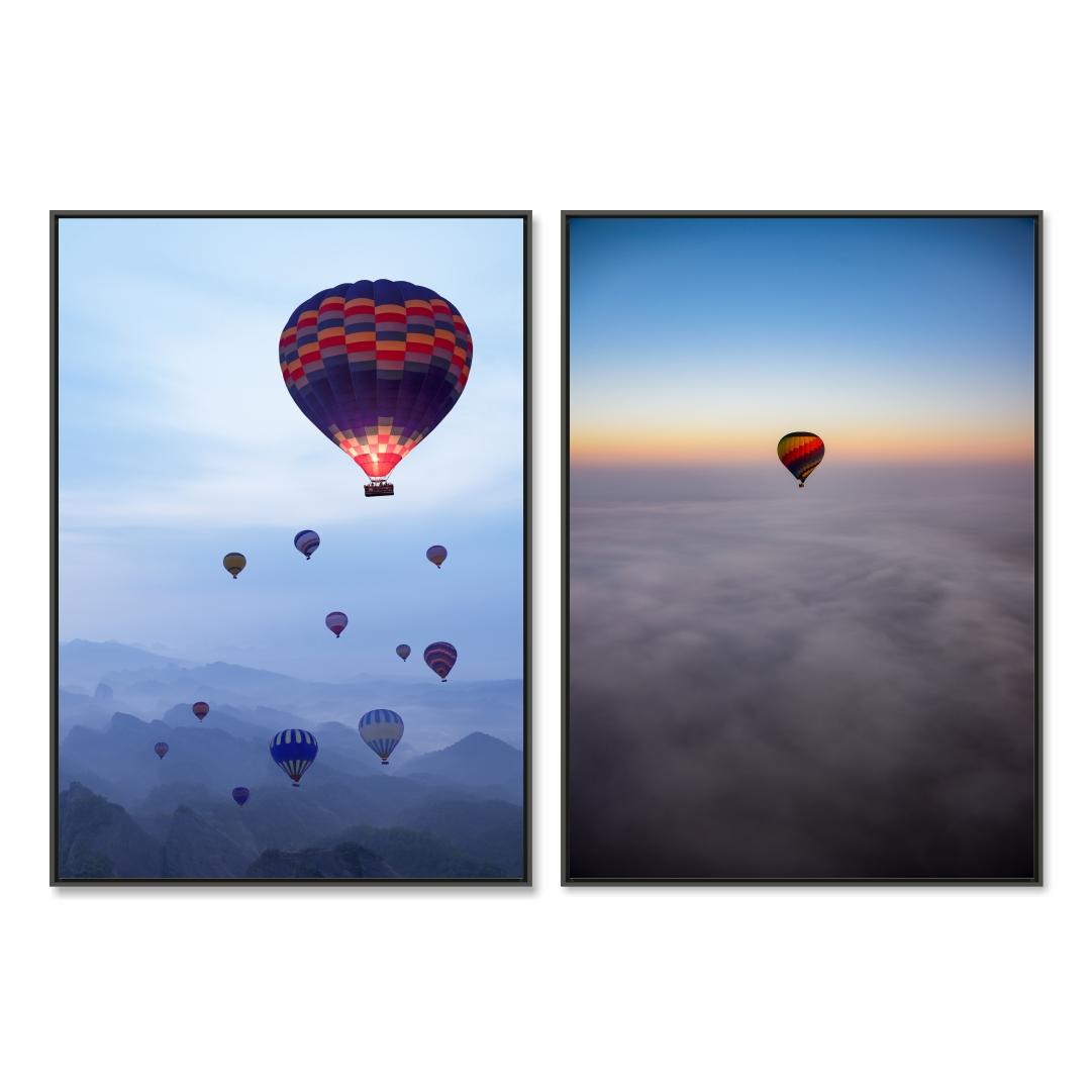 Conjunto com 2 Quadros Decorativos Balões no Céu