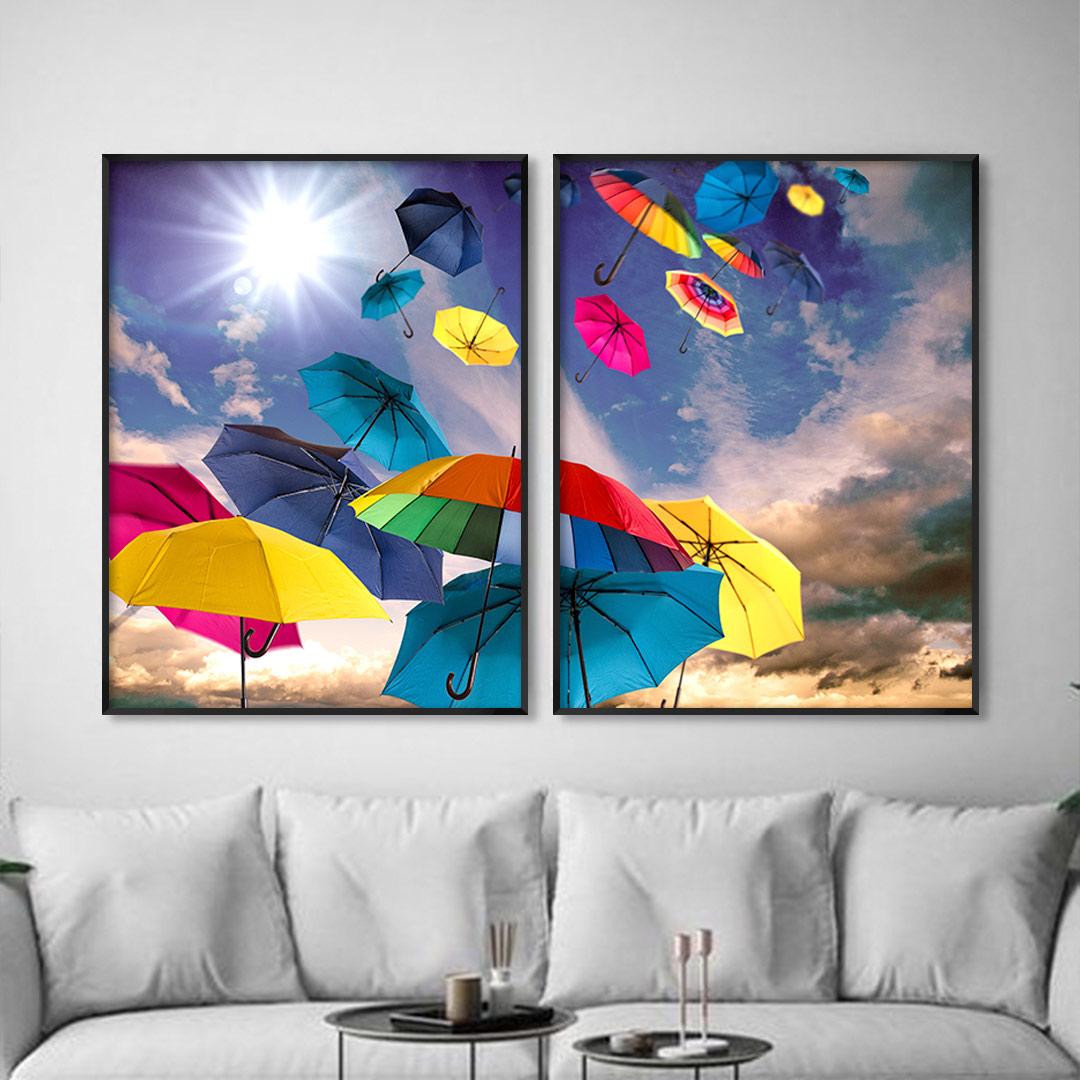 Composição com 2 Quadros Decorativos com Guarda-chuvas Coloridos