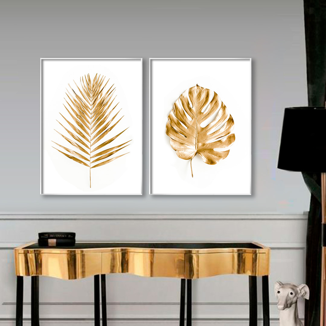 Conjunto com 2 Quadros Decorativos com Imagem de Folhas Douradas