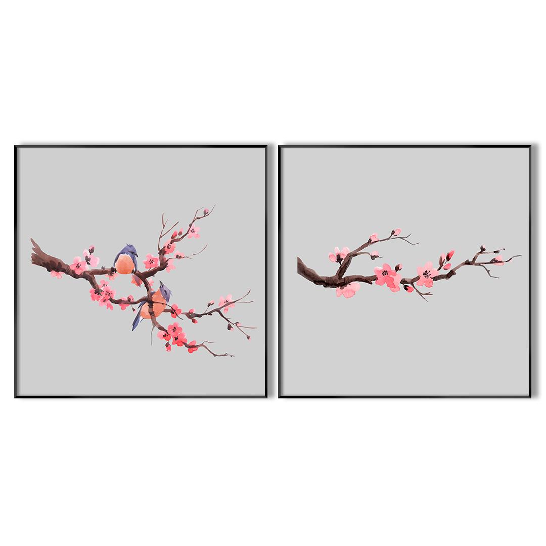 Conjunto com 2 Quadros Decorativos com Pintura de Flor de Cerejeira e Pássaros