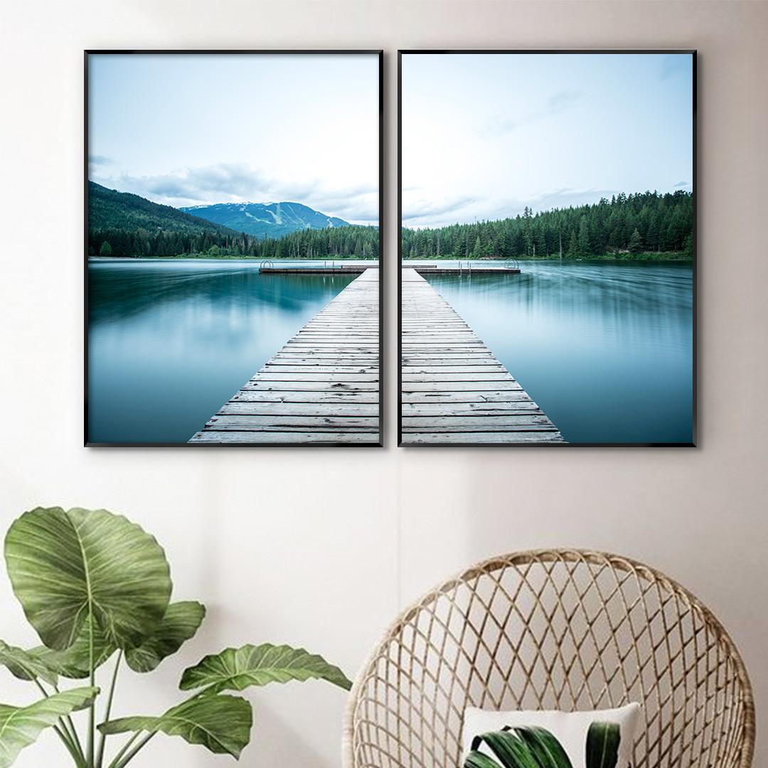 Composição com 2 Quadros Decorativos com Fotografia de Paisagem e Lago