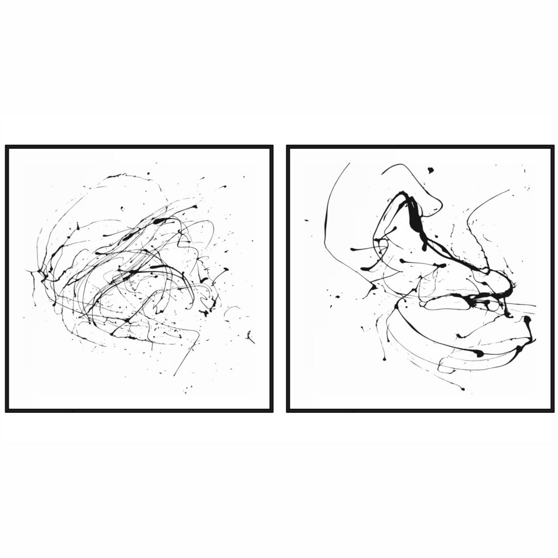 Conjunto com 2 Quadros Decorativos Abstratos com Respingos de Tinta Preto e Branco