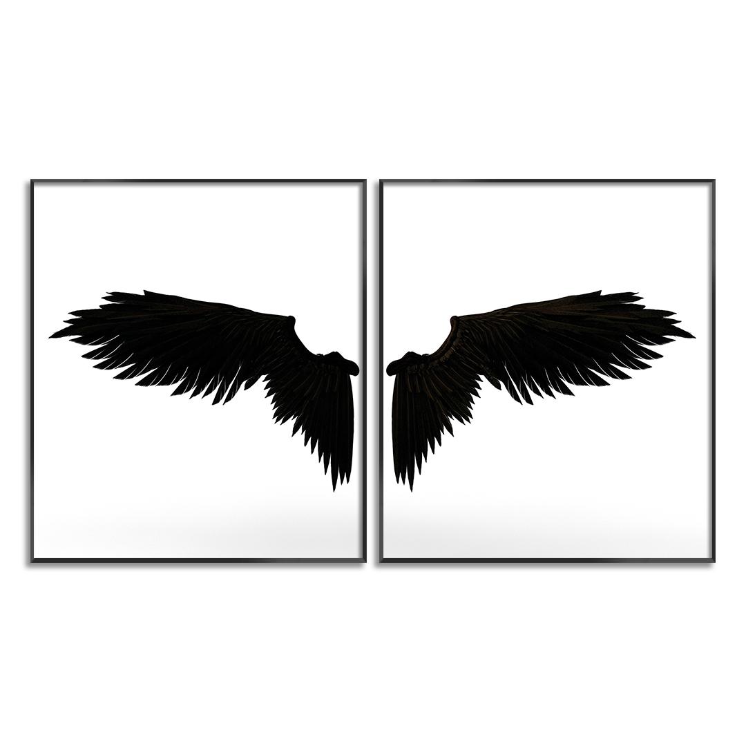 Composição com 2 Quadros Decorativos de Asas Preto e Branco