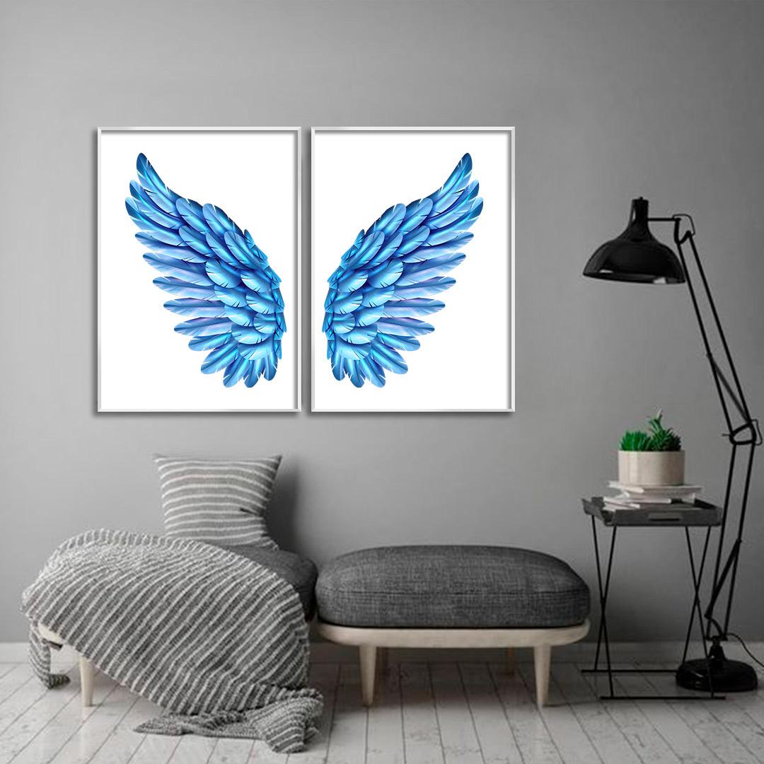 Composição com 2 Quadros Decorativos de Asas Azul