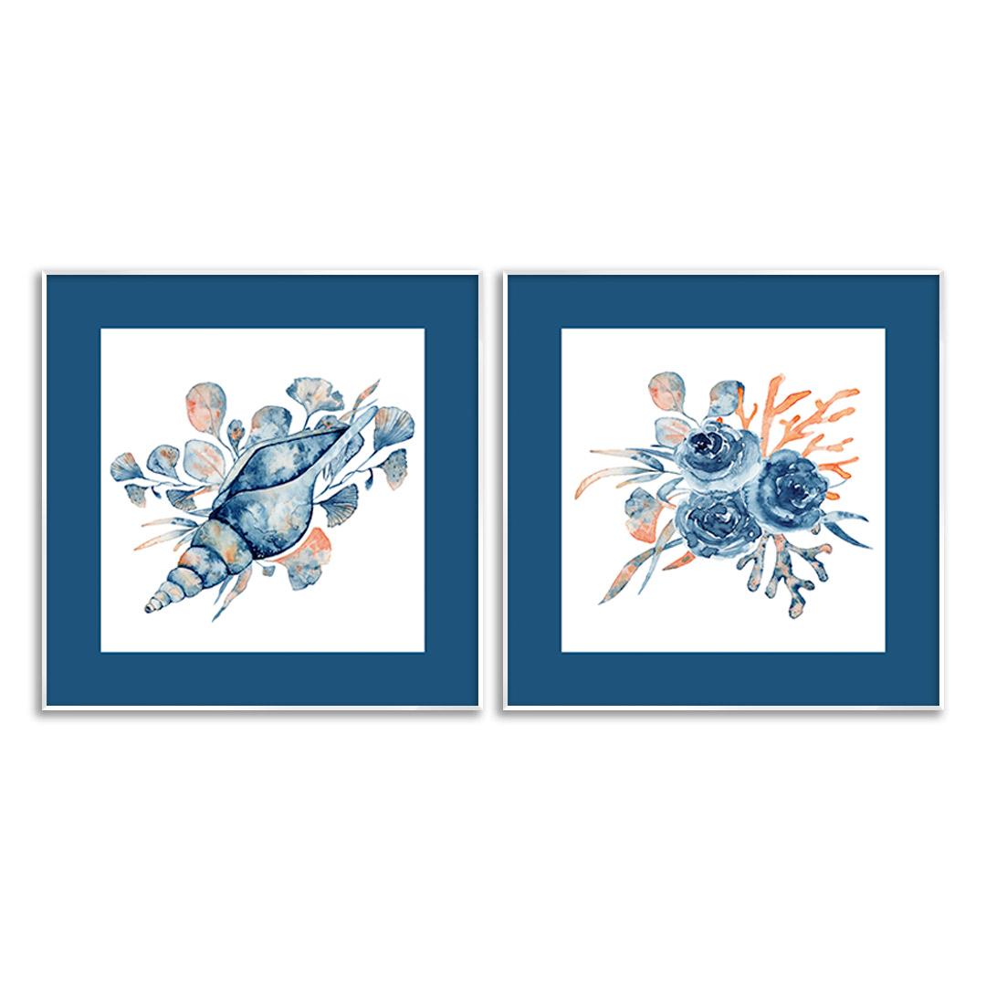 Conjunto com 2 Quadros Decorativos de Concha e Coral do Mar