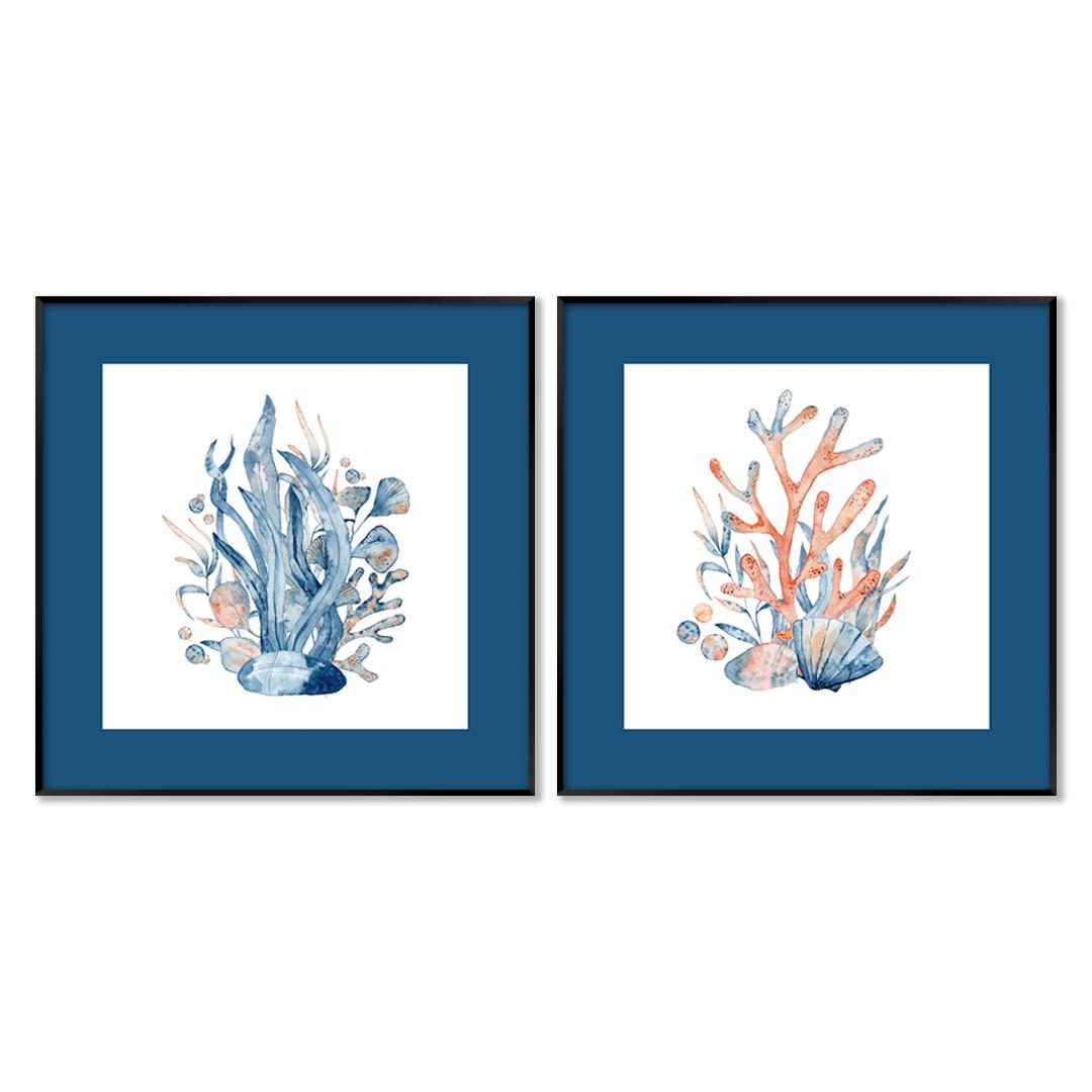 Conjunto com 2 Quadros Decorativos de Corais