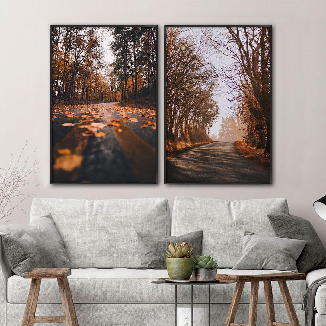 Conjunto com 2 Quadros Decorativos de Paisagem com Árvores e Folhas Secas