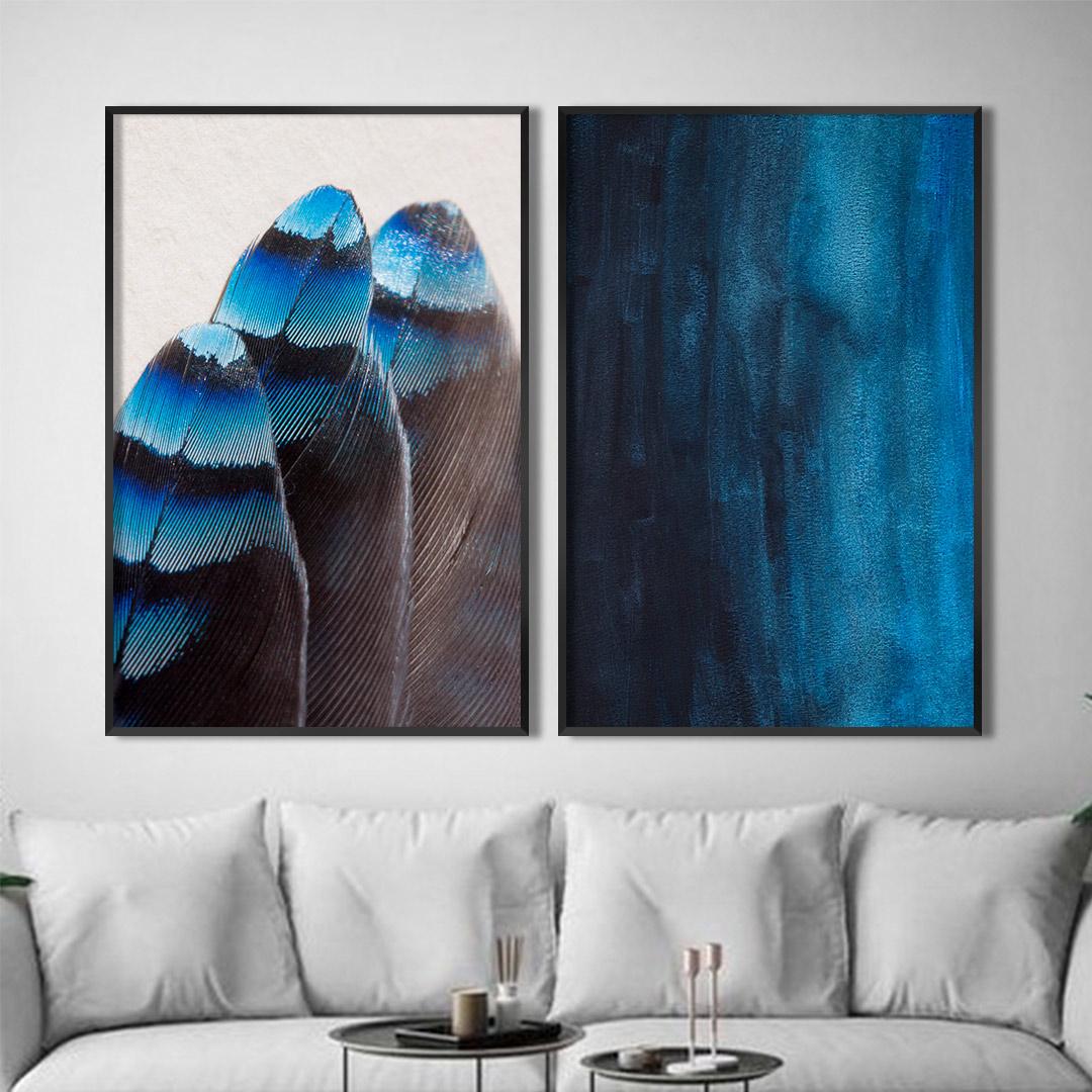 Conjunto com 2 Quadros Decorativos de Penas em Azul e Preto