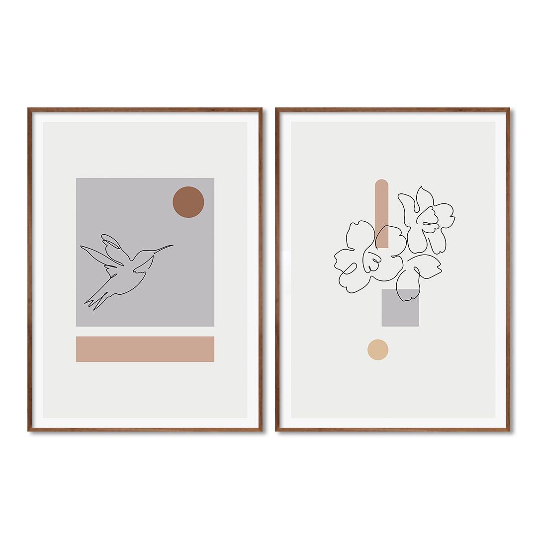 Conjunto com 2 Quadros Decorativos de Desenhos em Linhas Finas e Formas Geométricas Minimalistas