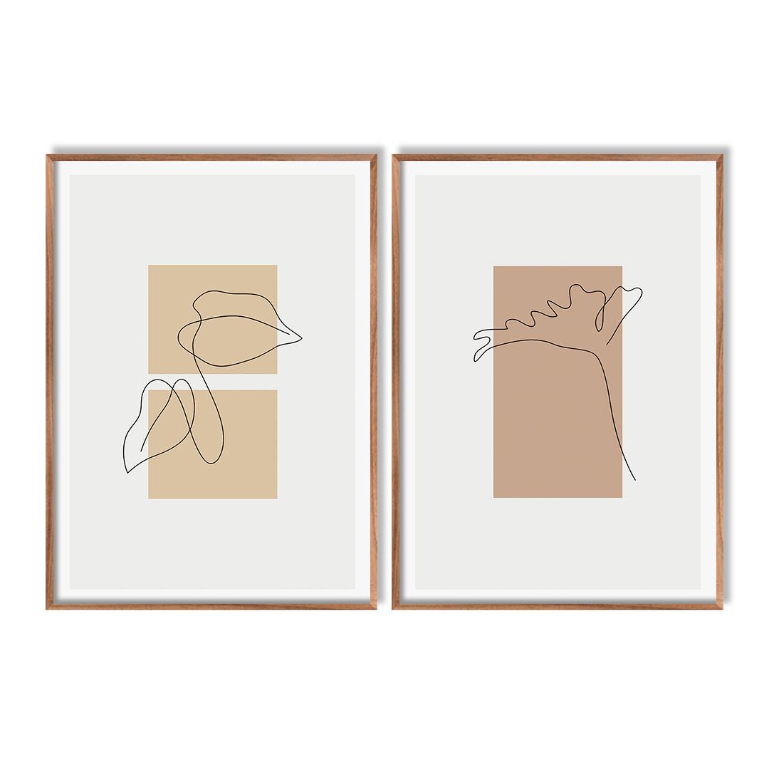 Conjunto com 2 Quadros Decorativos de Folhas e Formas Geométricas Minimalistas