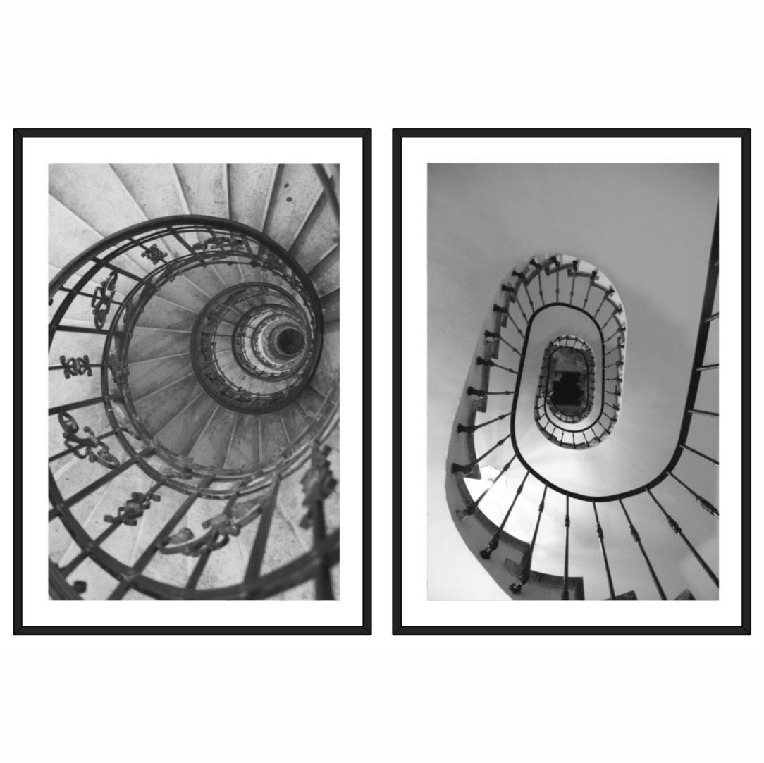 Conjunto com 2 Quadros Decorativos em Arquitetura Helicoidal Clássica