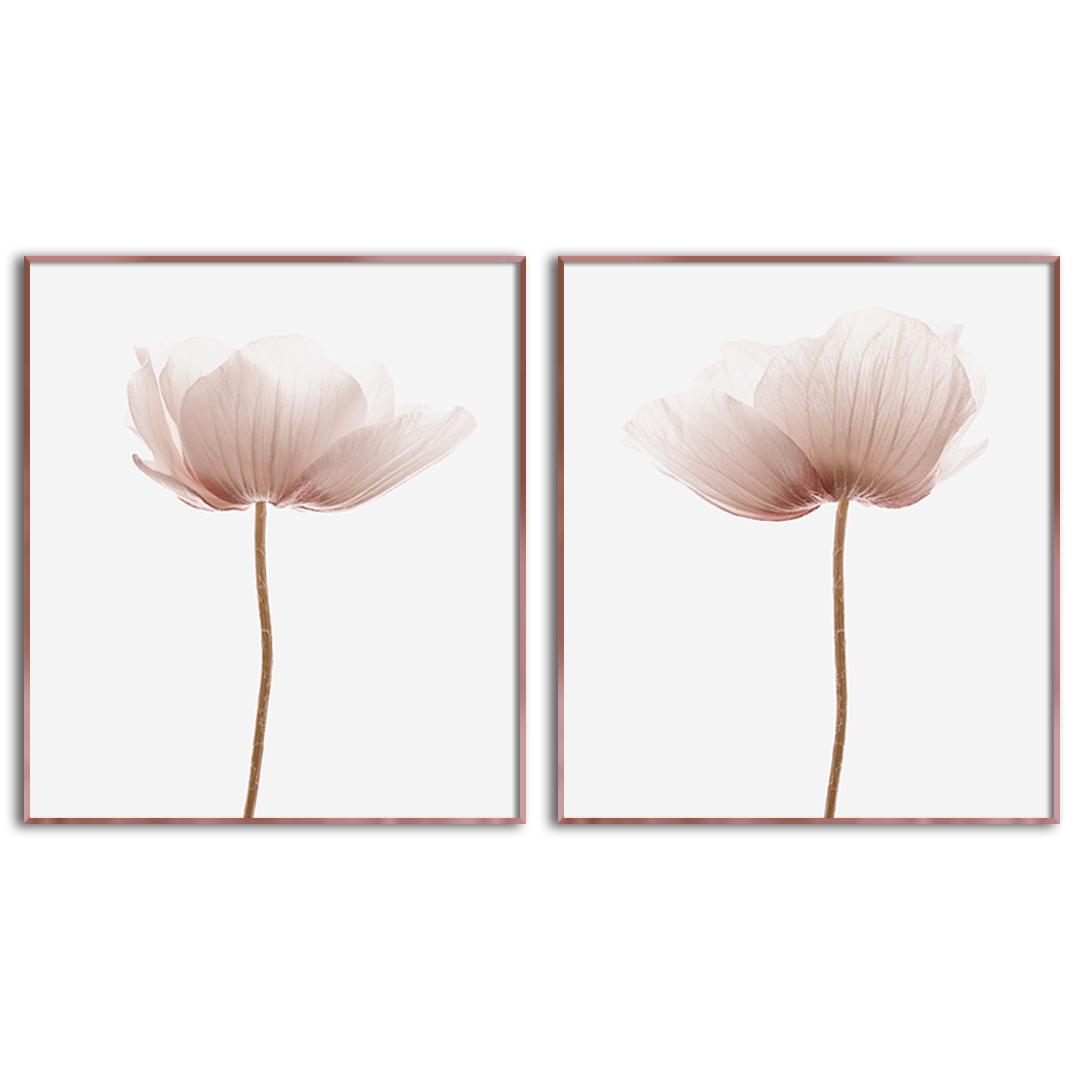 Conjunto com 2 Quadros Decorativos Floral