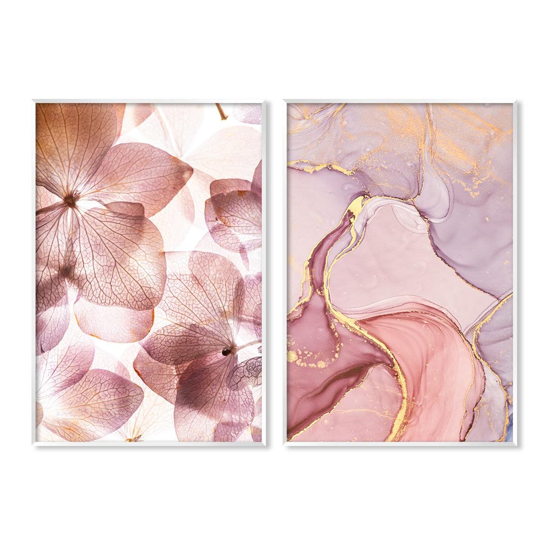Conjunto com 2 Quadros Decorativos Floral e Abstrato com Tons de Rosê