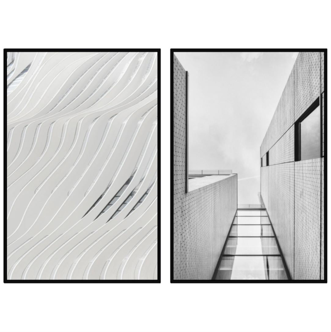 Conjunto com 2 Quadros Decorativos Formas Arquitetônicas em Edifícios