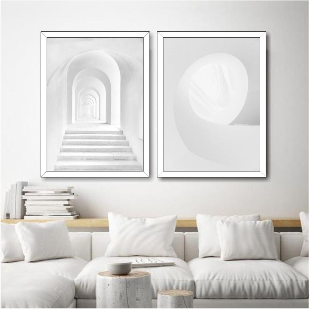 Conjunto com 2 Quadros Decorativos Formas Arquitetônicas Minimalistas