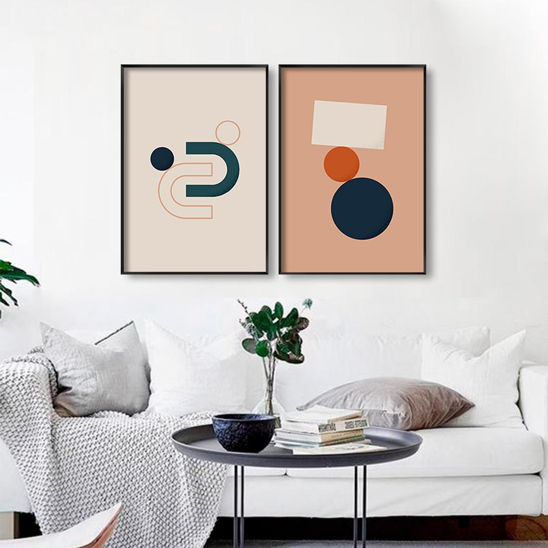 Conjunto com 2 Quadros Decorativos Formas Geométricas