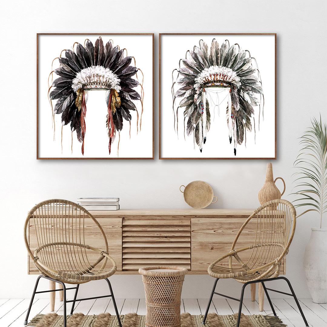 Conjunto com 2 Quadros Decorativos com Pintura de Cocar Indígena