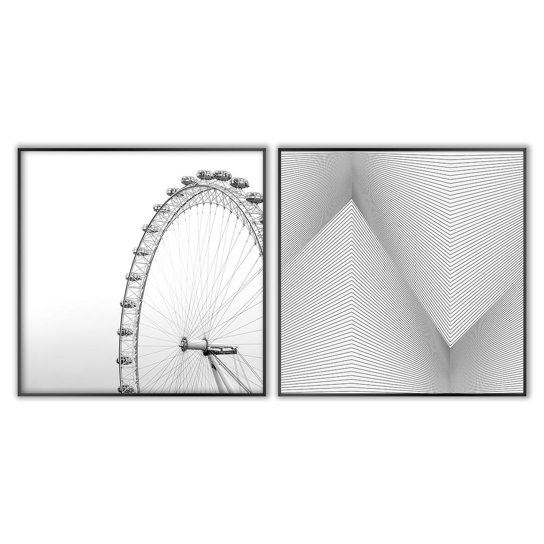 Conjunto com 2 Quadros Decorativos Roda Gigante e Geométrico