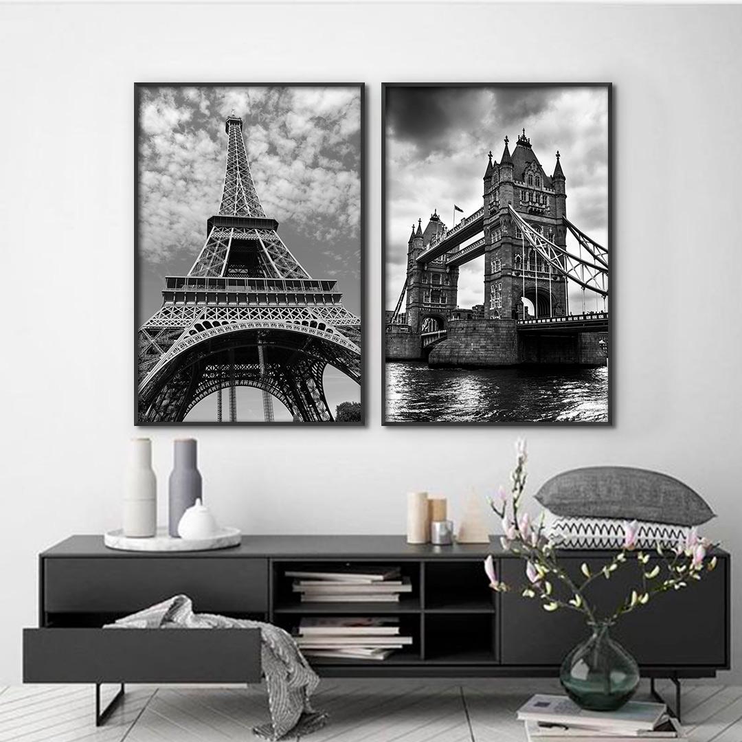 Conjunto com 2 Quadros Decorativos Torre Eiffel e Tower Bridge