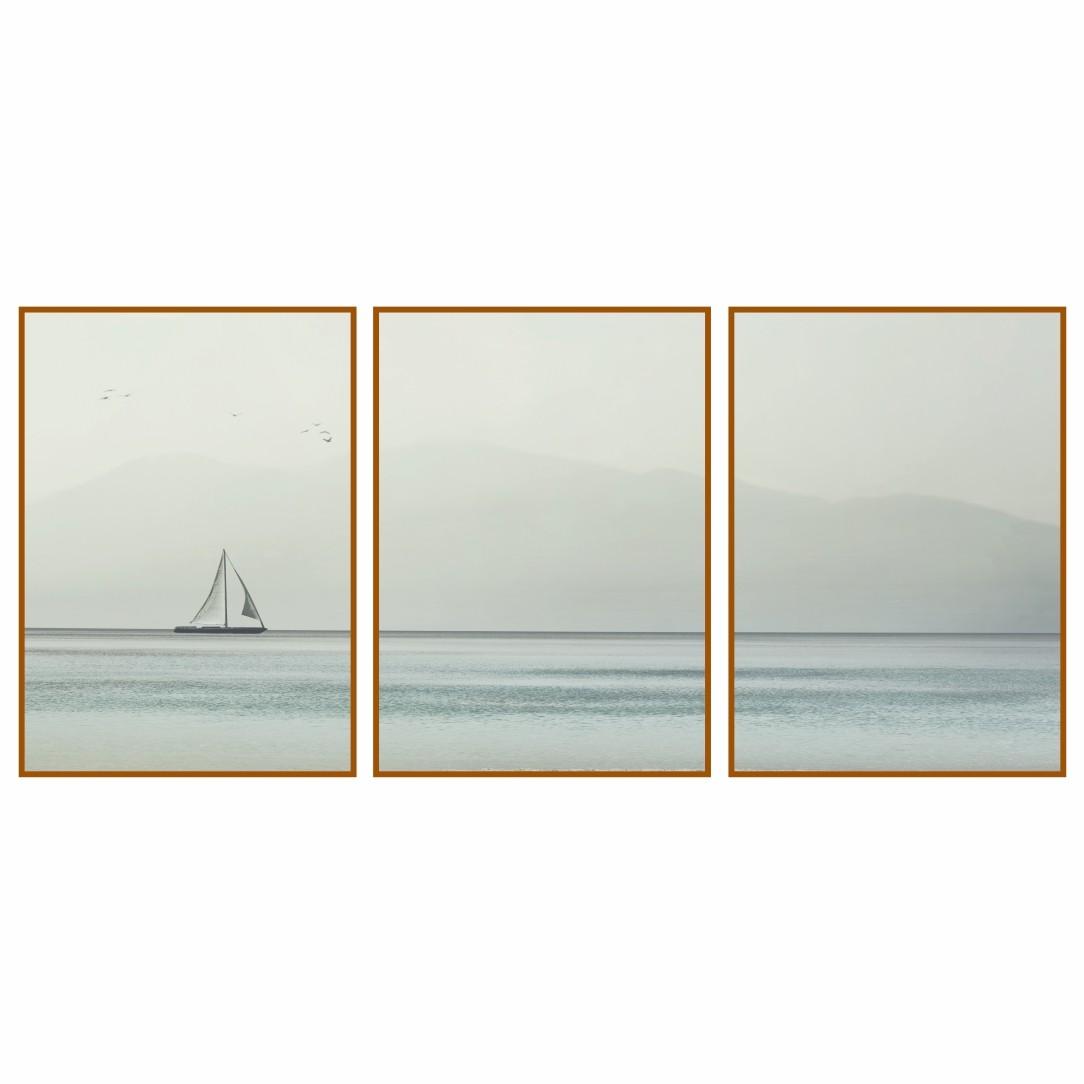 Composição com 3 Quadros Decorativos de Veleiro no Mar