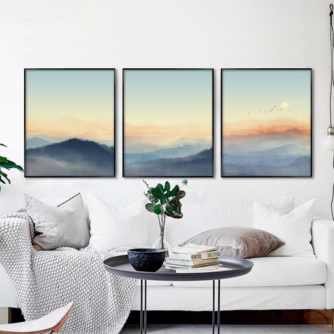Conjunto com 3 Quadros Decorativos com Pintura de Paisagem