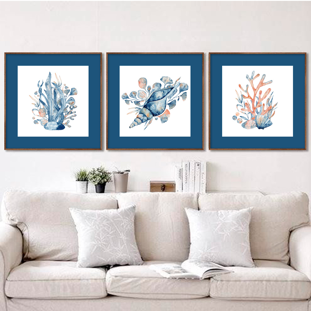 Conjunto com 3 Quadros Decorativos de Conchas e Corais Marinhos
