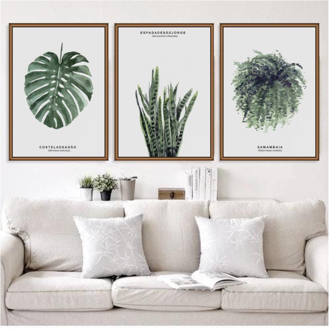 Conjunto com 3 Quadros Decorativos de Folhagem em Aquarela