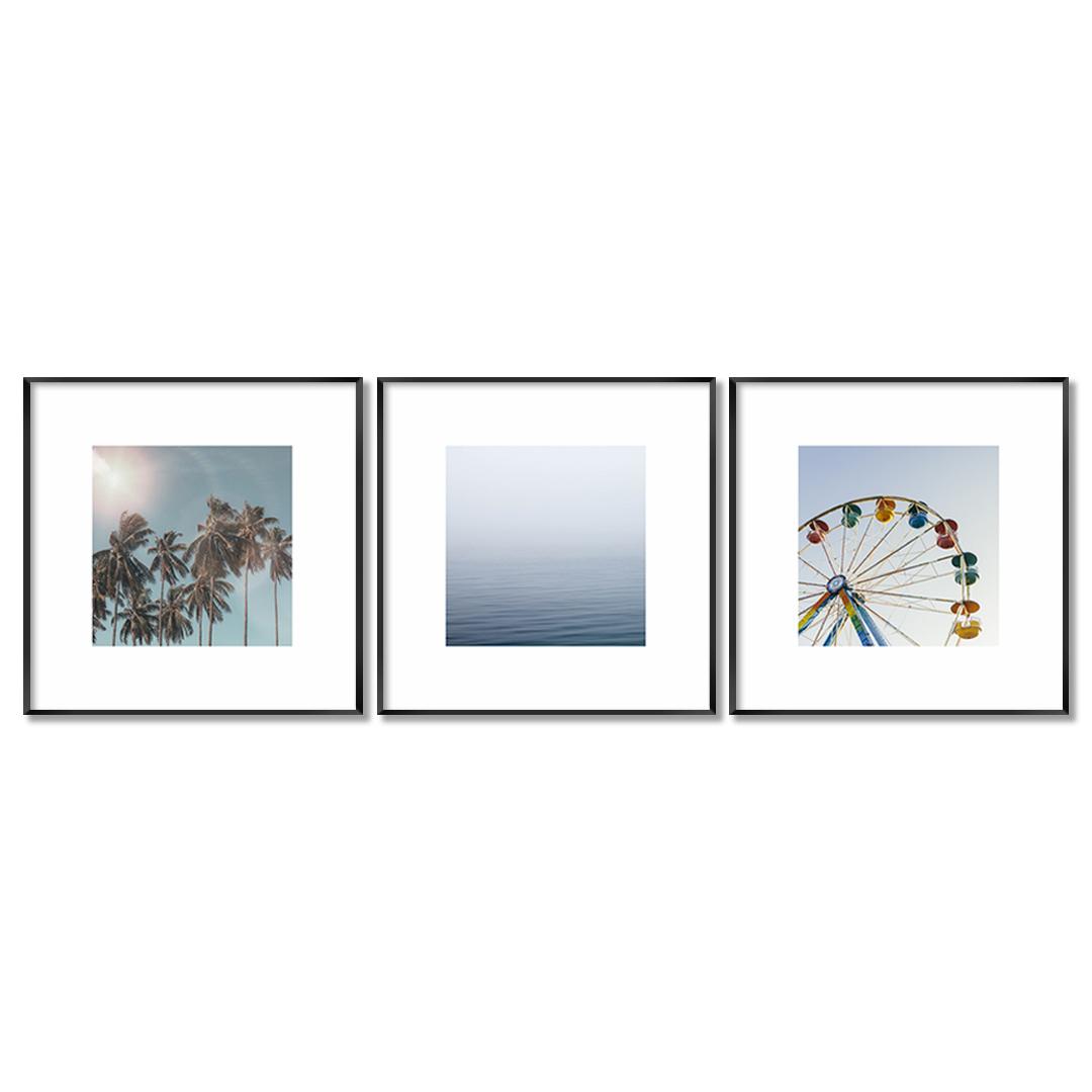 Conjunto com 3 Quadros Decorativos de Paisagens