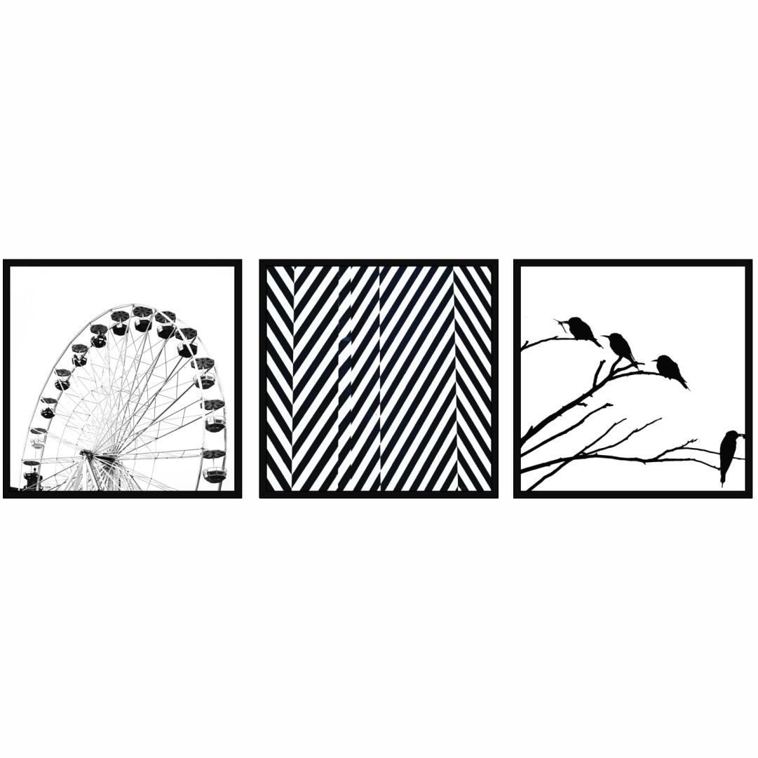 Conjunto com 3 Quadros Decorativos em Preto e Branco