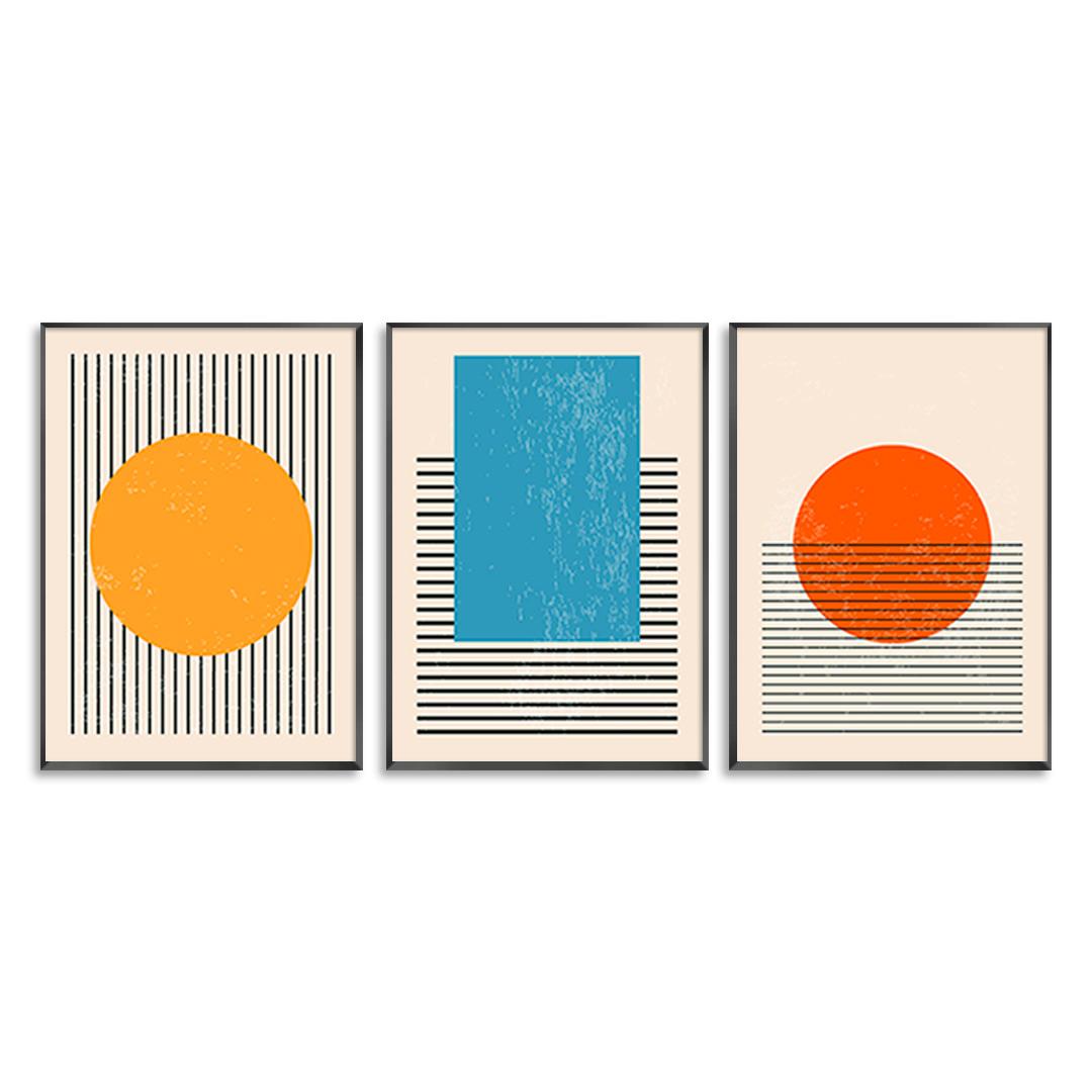 Conjunto com 3 Quadros Decorativos Geométricos Minimalistas Coloridos