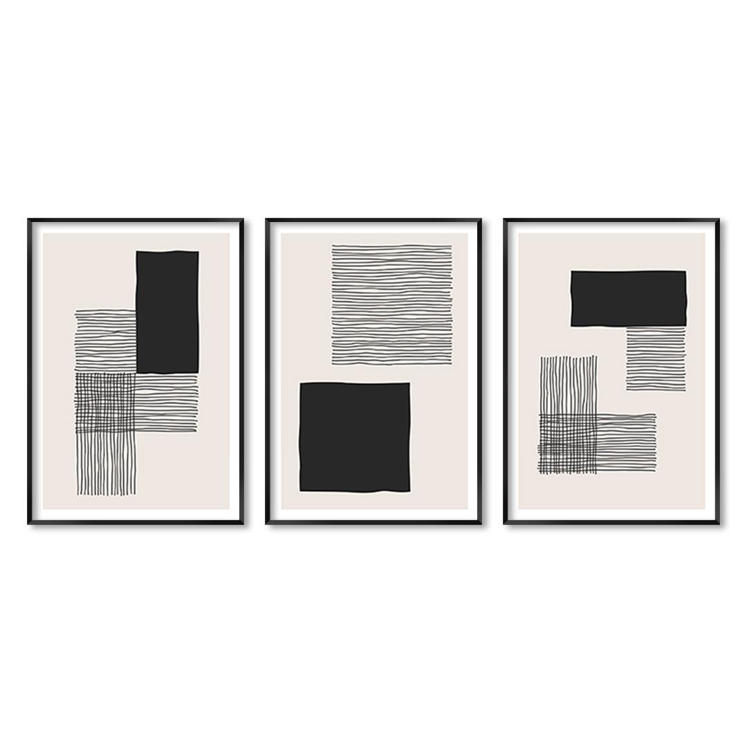 Conjunto com 3 Quadros Decorativos Geométricos Minimalistas