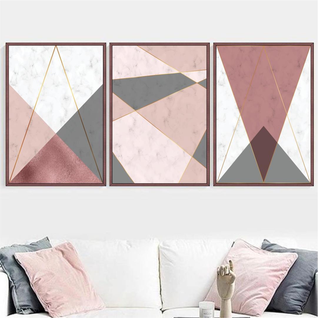 Conjunto com 3 Quadros Decorativos Geométricos Rosê