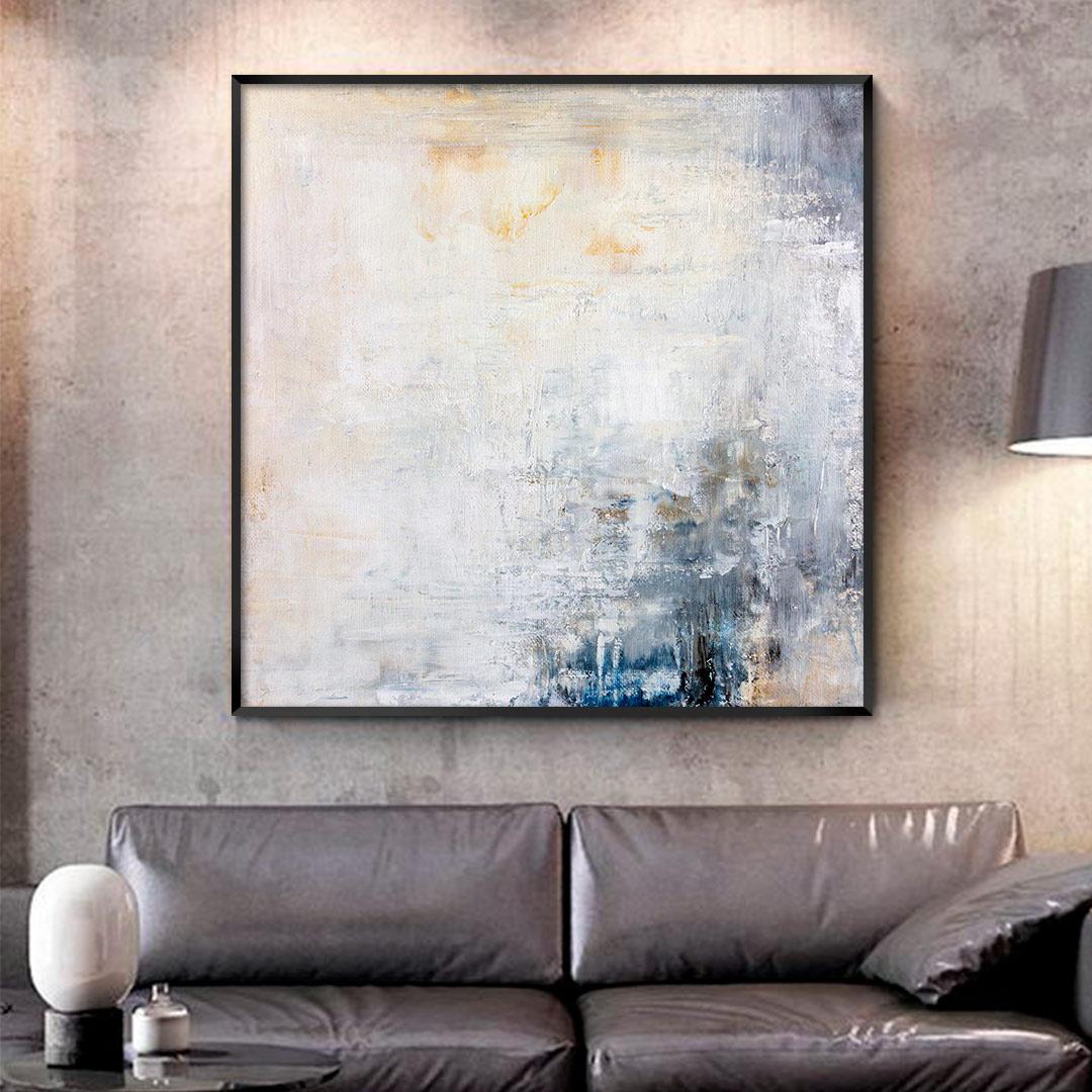 Quadro Decorativo Abstrato em Tons de Azul e Amarelo