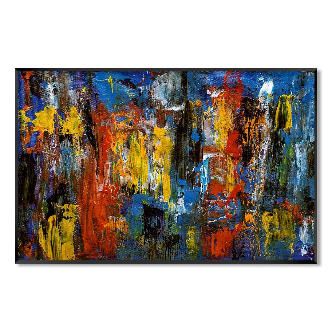 Quadro Decorativo Abstrato com Pintura Colorida