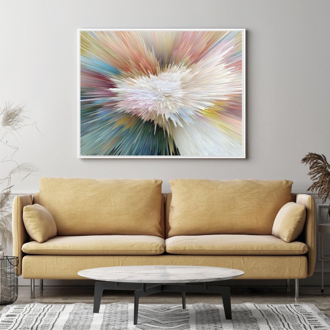 Quadro Decorativo Abstrato Colorido com Efeito Profundidade