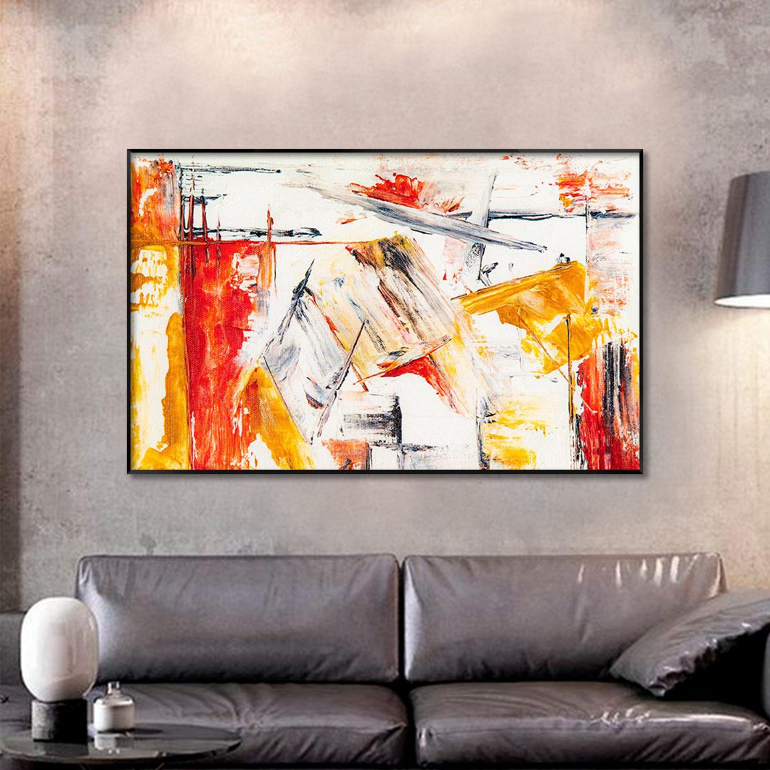 Quadro Decorativo Abstrato em Tons de Amarelo e Laranja