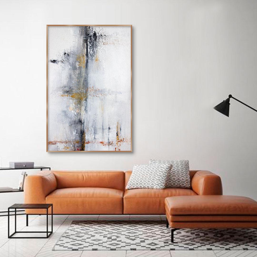 Quadro Decorativo Abstrato em Tons de Amarelo e Vermelho