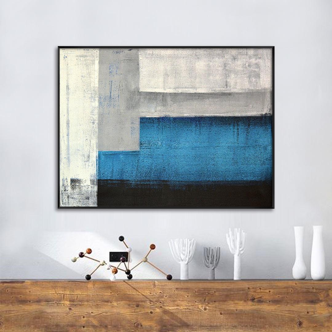 Quadro Decorativo Abstrato em Tons de Azul, Cinza e Preto