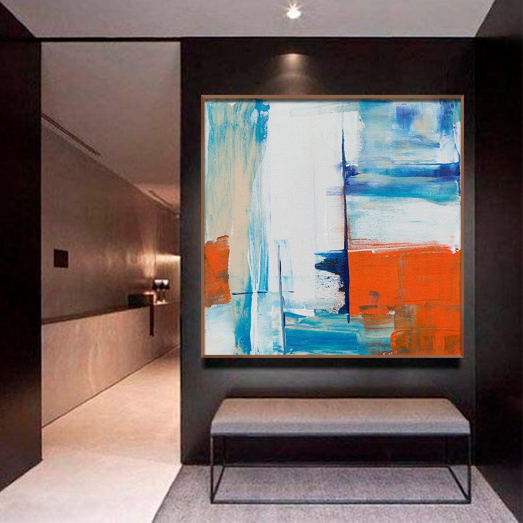 Quadro Decorativo Abstrato em Tons de Azul e Laranja