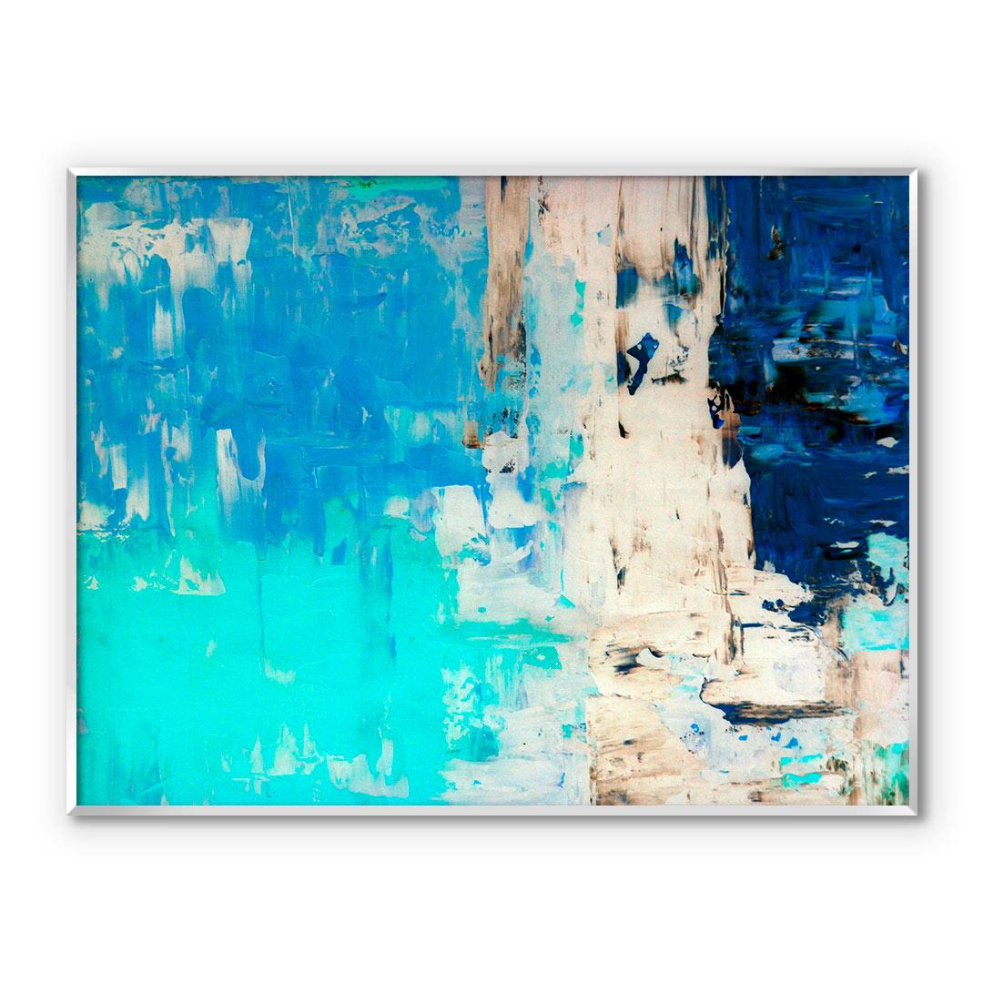 Quadro Decorativo Abstrato em Tons de Verde e Azul