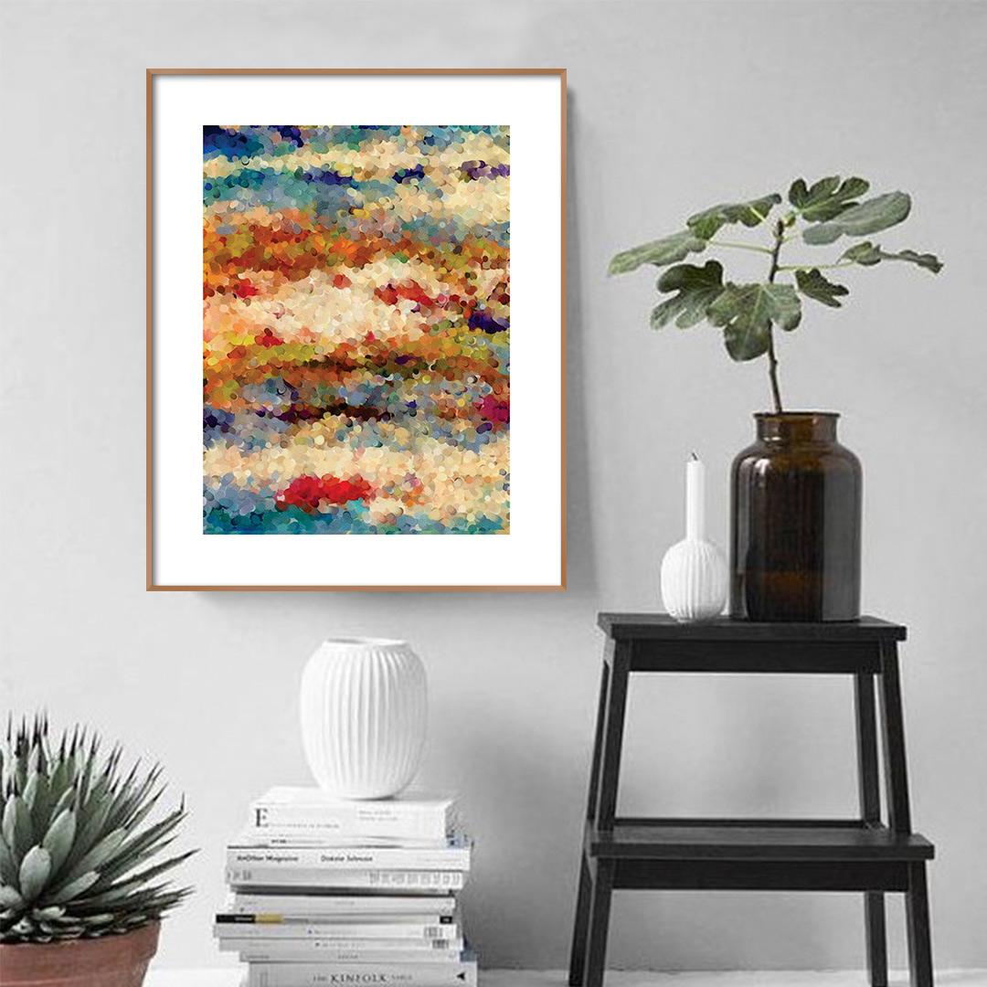 Quadro Decorativo Abstrato em Tons de Vermelho, Azul e Amarelo