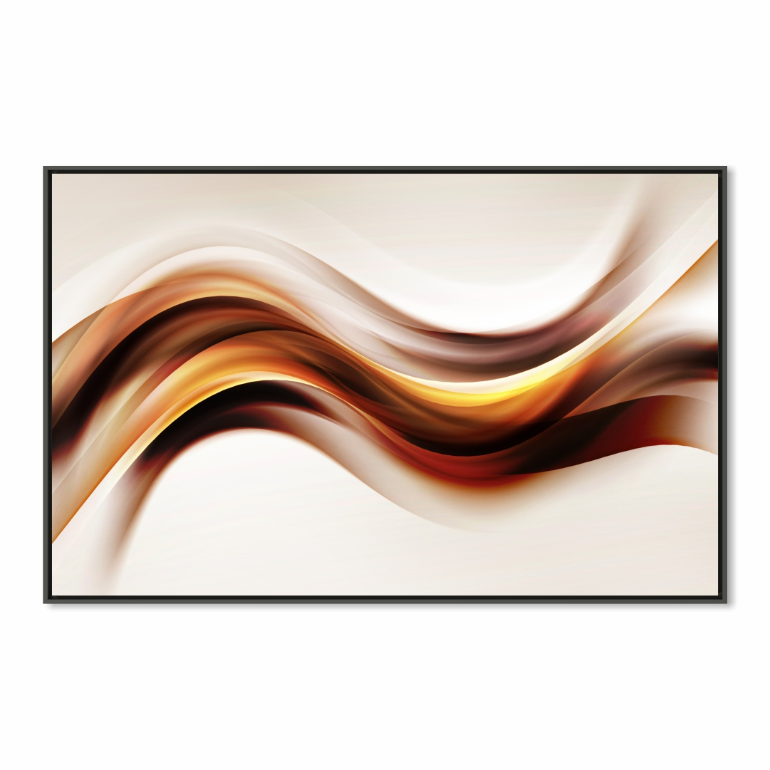Quadro Decorativo Abstrato Marmorizado em Tons de Marrom e Dourado