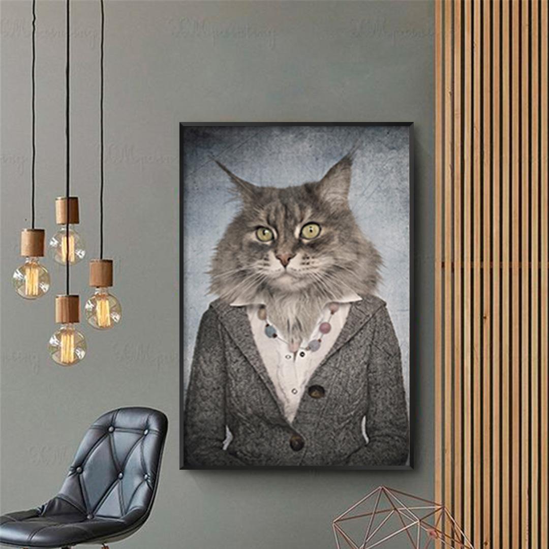 Quadro Decorativo Gato Artístico